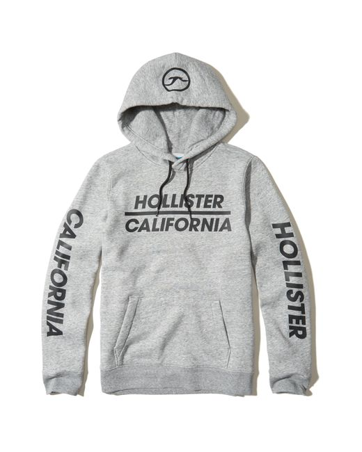Hollister Logo Graphic Hoodie In Gray For Men