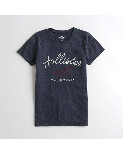 0354d2ad Hollister - Blue Girls Embroidered Logo Graphic Tee From Hollister - Lyst