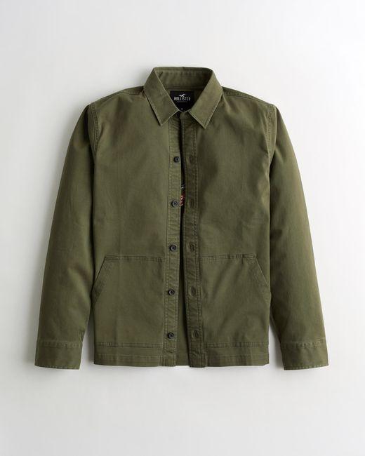 Hollister Green Embroidered Logo Shirt Jacket for men