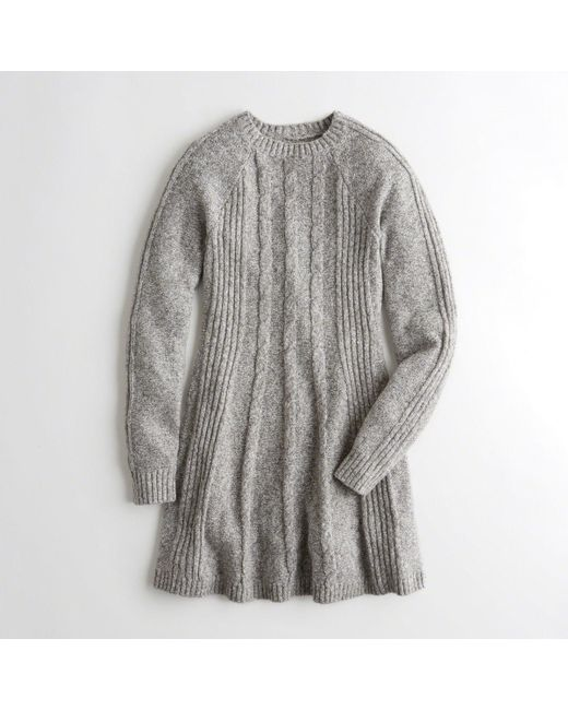 Hollister - Gray Cable Sweater Dress - Lyst