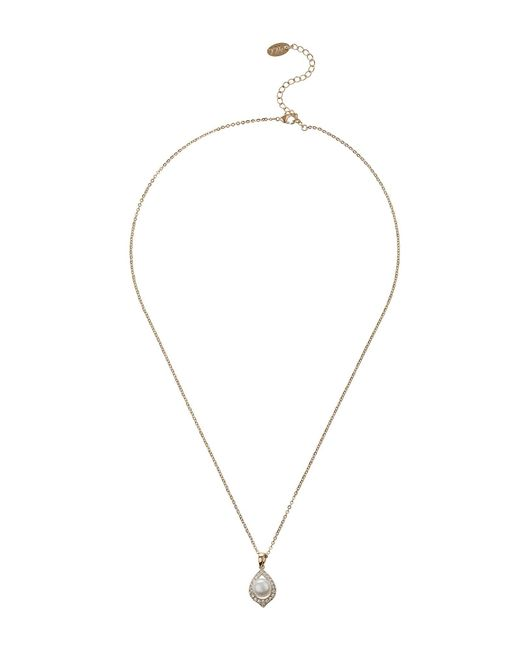 Mikey - Metallic Oval Design Pearl Centre Edged Necklace - Lyst