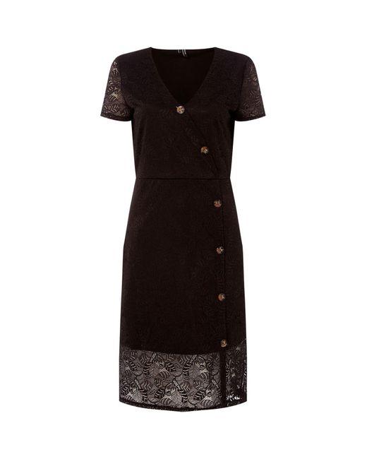 Vero Moda Black Lace Button V-neck Dress