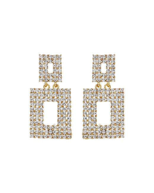 Mikey - Metallic Square Design Crystal Studded Earring - Lyst