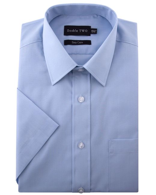 Double Two | Blue Classic Plain Short-sleeve Shirt for Men | Lyst
