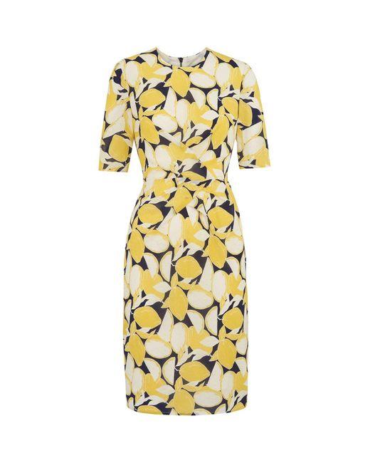 Whistles Yellow Phoebe Lemon Print Bodycon