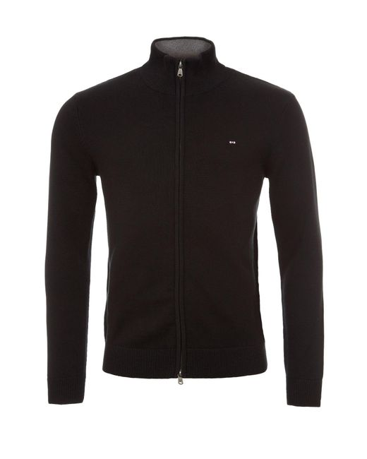 Eden Park - Black Cotton Zip Up Cardigan With High Neck for Men - Lyst