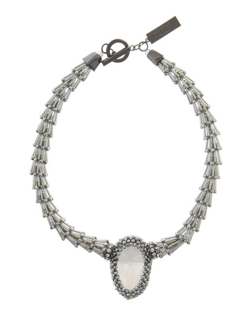 Weekend by Maxmara | Gray Laringe Statement Stone Necklace | Lyst