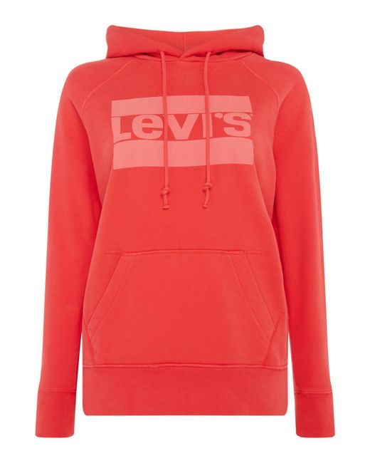 Levi's | Red Hoodie With Graphic Sport Logo | Lyst