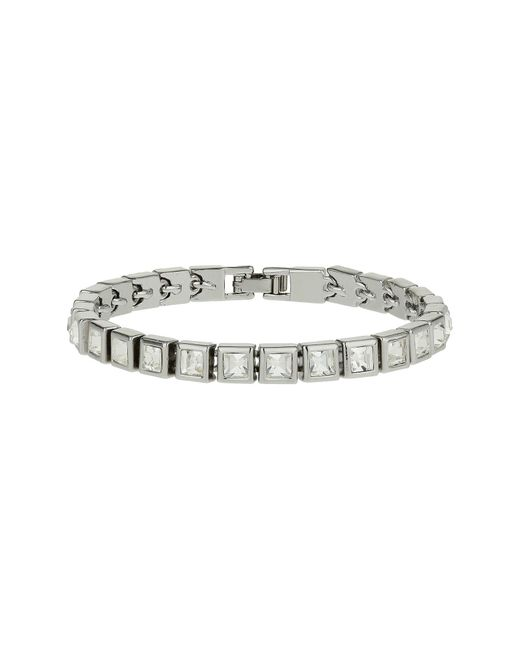 Mikey | White Square Crystal Bracelet | Lyst