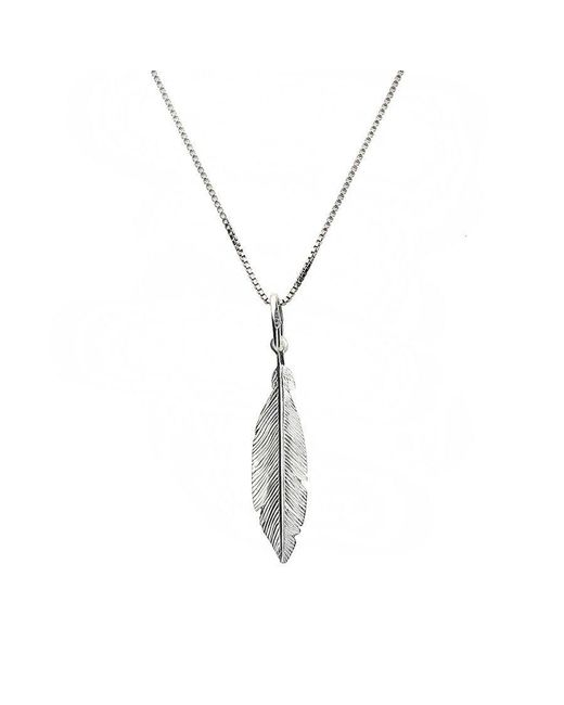 Azendi | Metallic Tiny Silver Feather Pendant | Lyst