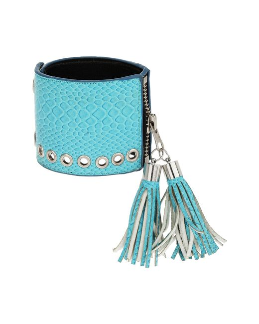 Mikey | Blue Leather Cuff With Tassles | Lyst