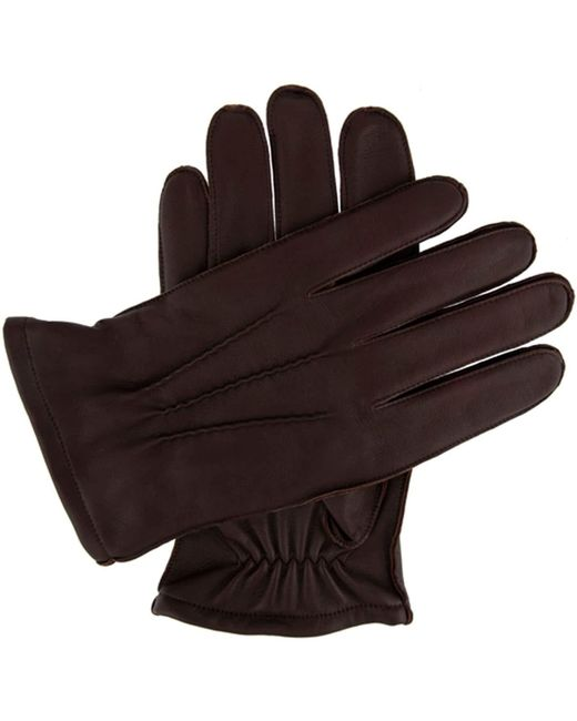 Dents Brown Men`s Leather Glove With Warm Lining for men