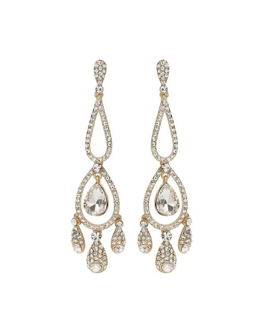 Mikey | Metallic Long Eclipse Crystal Drop Earring | Lyst
