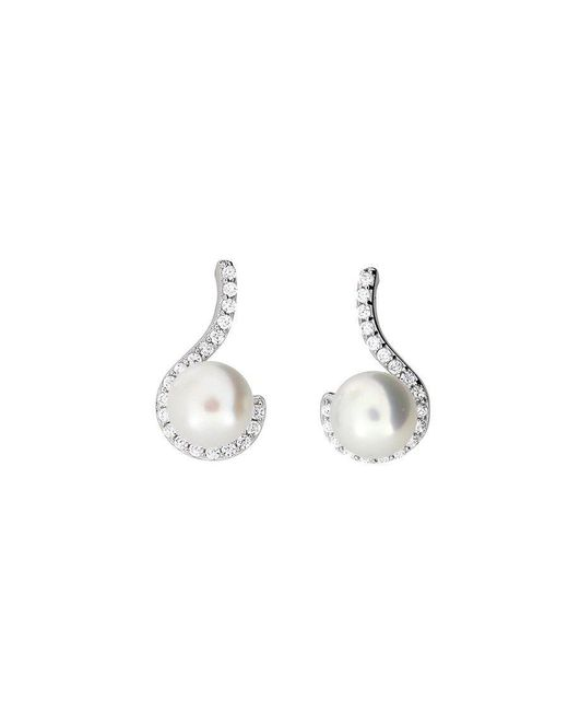 Azendi | Metallic Pearl Pavé Curl Earrings | Lyst