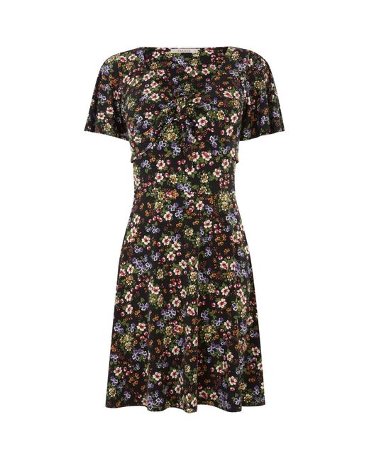 Oasis Multicolor Crushed Ditsy Tie Front Dress