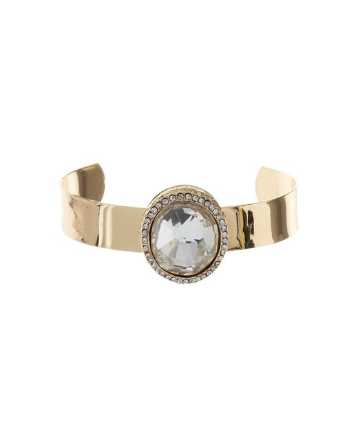 Mikey | Metallic Raised Oval Stone On Cuff Bangle | Lyst