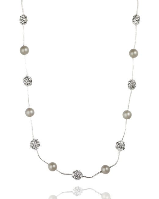 Anne Klein | Metallic Silver Tone Crystal Fireball Necklace | Lyst