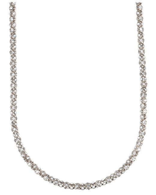 Anne Klein | Metallic Silvertone Crystallized Tubular Necklace | Lyst