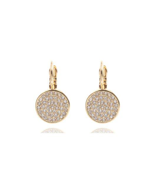 Anne Klein | Metallic Gold Tone Pave Drop Earrings | Lyst