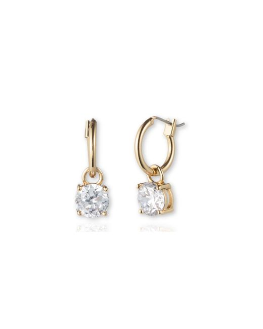 Anne Klein | Metallic Stone Drop Hoop Earrings | Lyst