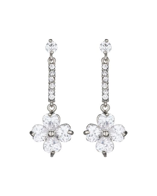 Mikey | Metallic Daisy Flower Long Drop Earring | Lyst