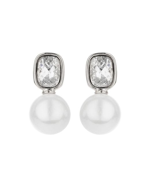 Mikey | Metallic Square Crystal Pearl Drop Earring | Lyst