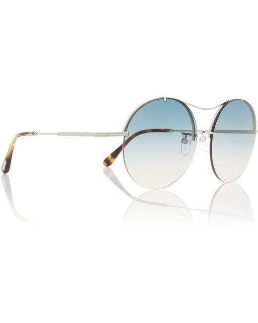 Tom Ford Metallic Silver Ft0565 Tr000926 Oval Sunglasses