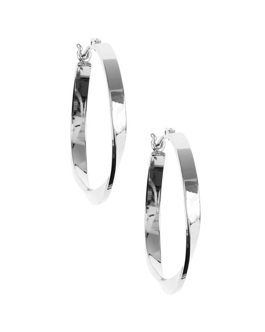 Nine West | Metallic Silver Twisted Link Hoop Earrings | Lyst