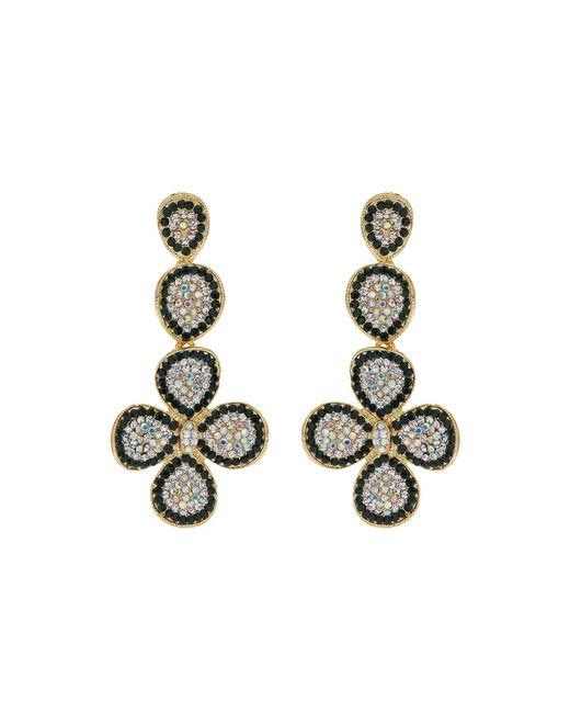 Mikey | Black Flower Design Crystal Studded Earring | Lyst