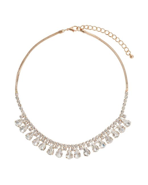 Mikey   Metallic Hanging Crystal Chain Necklace   Lyst
