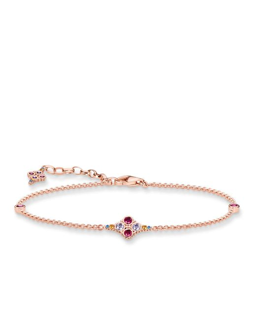 Thomas Sabo | Pink Royalty Rose Gold Cross Bracelet | Lyst