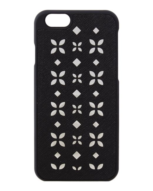 Michael kors black iphone 6 cover in black lyst for Housse iphone 6 michael kors