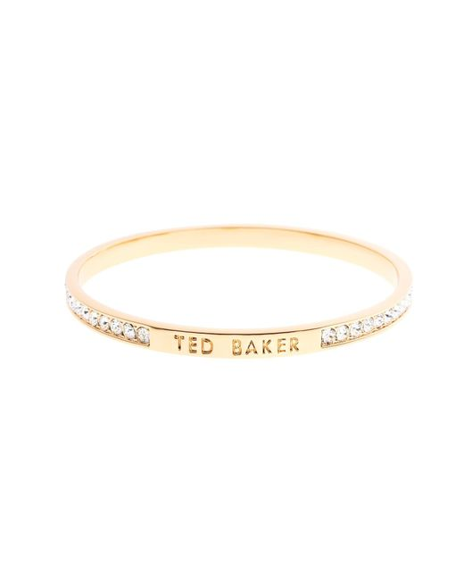 Ted Baker | Metallic Clem Gold Narrow Crystal Band Bangle | Lyst