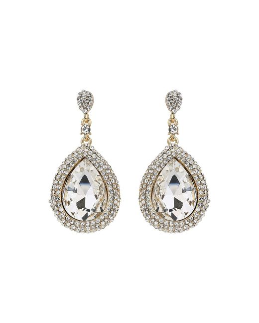 Mikey | Metallic Large Oval Crystal Edged Drop Earring | Lyst