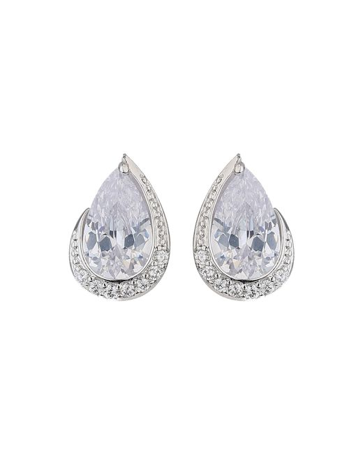 Mikey | Metallic Oval Cubic Edged Crystal Stud Earring | Lyst