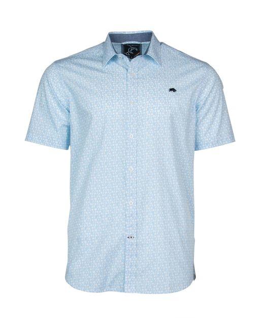 Raging Bull   Blue Short Sleeve Ditsy Print Shirt for Men   Lyst