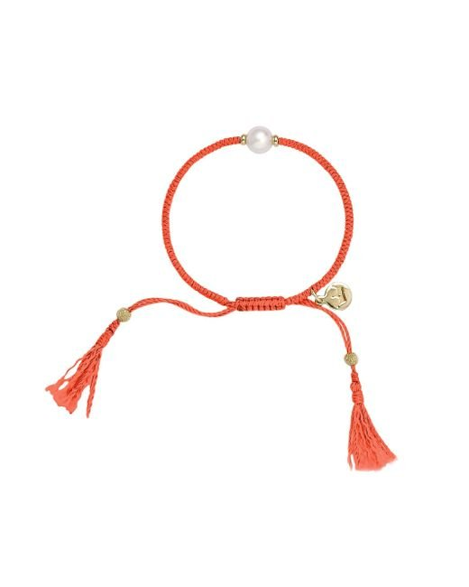 Jersey Pearl | Red Freshwater Pearl And Silk Bracelet | Lyst