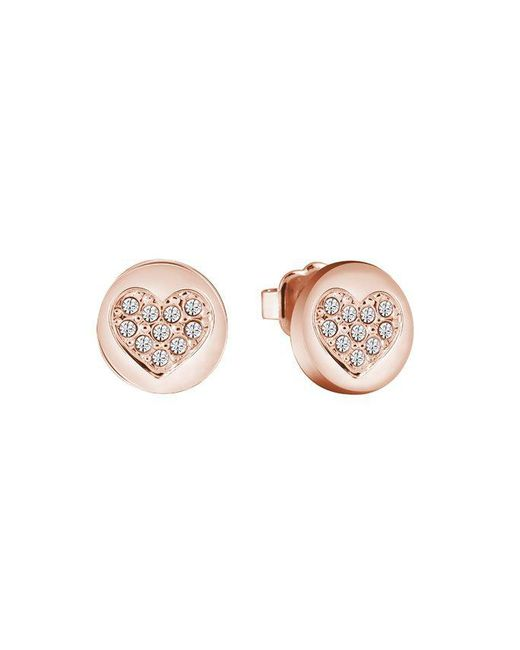Guess | Multicolor Heart Devotion Sparkle Coin Stud Earring | Lyst