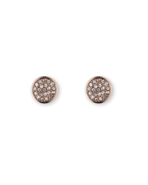 Anne Klein | Metallic Button Stud Pave Earrings | Lyst