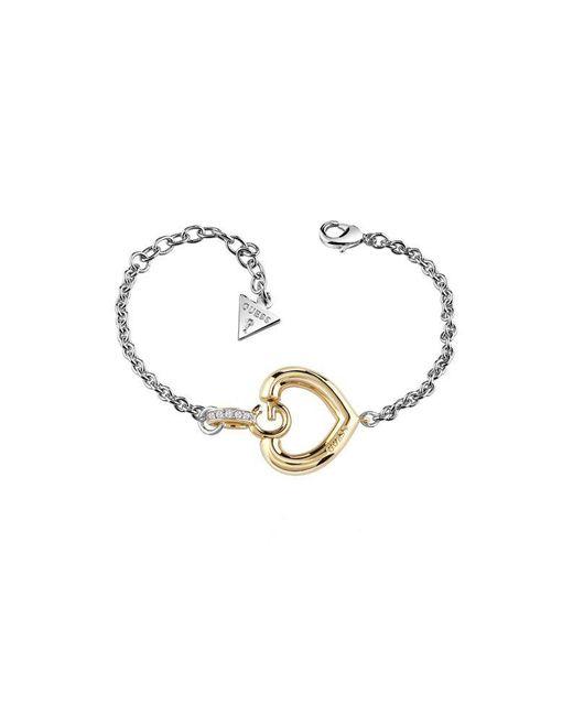 Guess   Metallic Gisèle Ubb83007-l G Heart Bracelet   Lyst