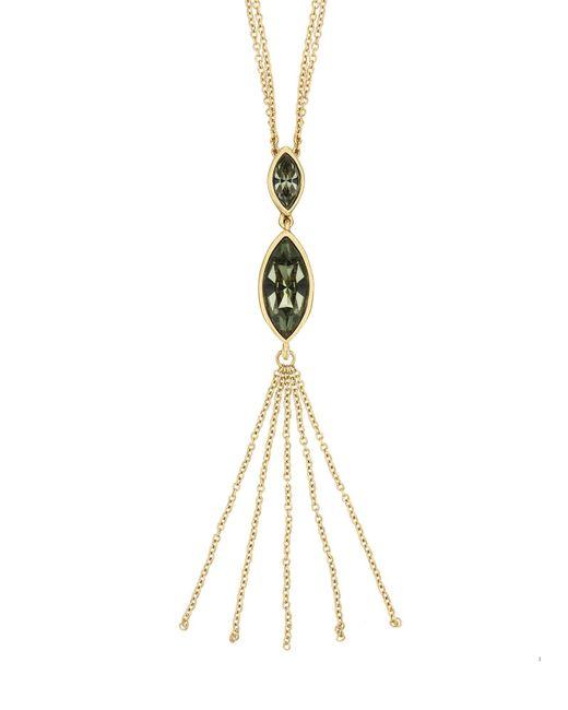 Aurora | Metallic Gold Plated Crystal Tassle Necklace | Lyst