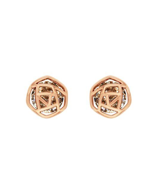 Aurora Flash   Metallic Rose Gold Plated Hexagon Earrings   Lyst