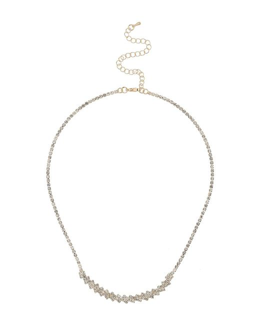 Mikey   Metallic Crytsal Petal Chain Linked Necklace   Lyst