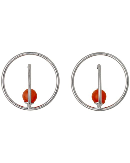 Pilgrim | Metallic Sweet Silver Orange Stone Hoop Earrings | Lyst