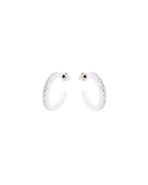Karen Millen - Metallic Silver & Crystal Small Hoop Earrings - Lyst