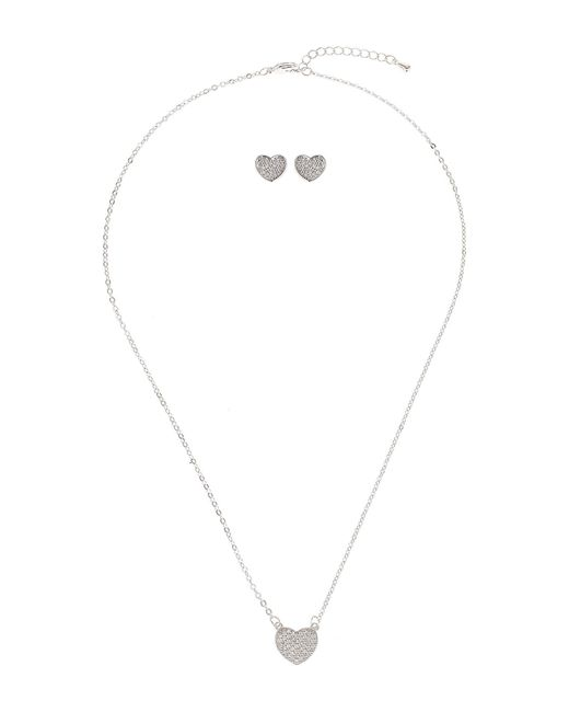 Mikey - White Crystal Heart Bead Necklace Earring Set - Lyst