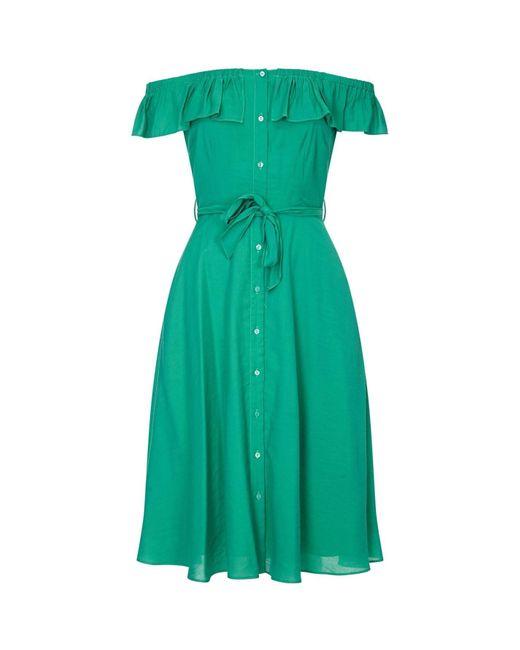 Yumi' Green Bardot Shirt Dress