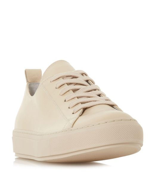 Dune - Natural Enjoye Lace Up Slim Sole Trainers - Lyst