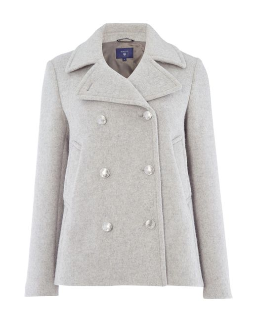 Gant - Gray Bonded Wool Pea Coat - Lyst