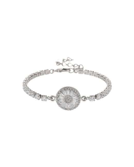 Mikey - White Baugette Disc Crystal Chain Bracelet - Lyst